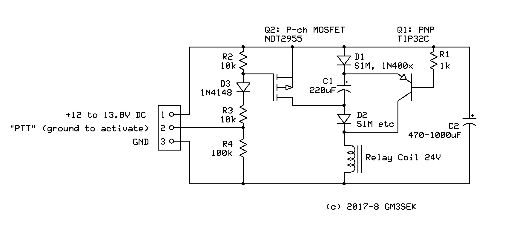 Switching 24v Relays From A 12v Dc Supply Gm3seks Technical Blog Relay Switch Meaning We Can Now Control The Directly Gate Of Q2 So Fig2 Is Simplified To Just Two Transistors And Handful Other Components